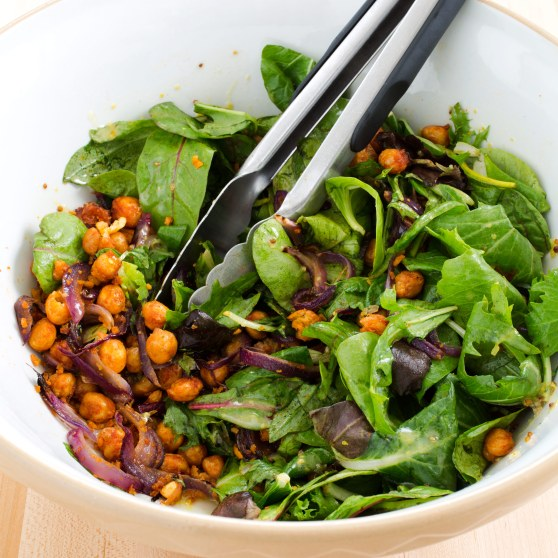 Salad with Crispy Spiced Chickpeas and Honey-Mustard Vinaigrette